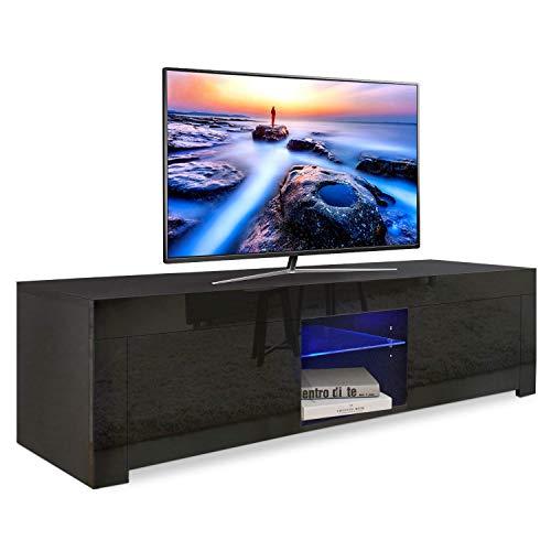 YOLEO TV-Lowboard mit LED-Beleuchtung, Fernsehschrank Hochglanz, Fernsehtisch TV-Schrank Stehend TV-Regal 130x35x35 cm (Stil-1 Schwarz)