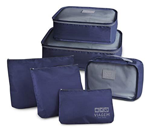 Organizador De Bagagem Mala Viagem Kit 6 Peças azul - 608