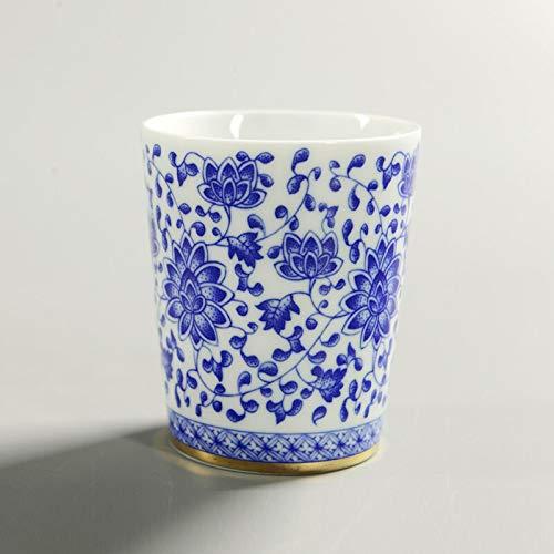 QWSAZX 160ml Theekop Keramisch Blauw en Wit Porselein Cup Kantoor Meester Drinkbeker Koffie Melk Cup Thee Set
