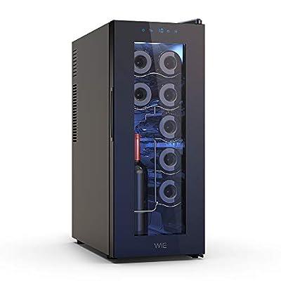 WIE 12 Bottle Wine Cooler Freestanding Touch screen Wine Fridge Temperature Control 10-18°32L LED Wine Refrigerator by Wie