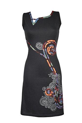 Filosophie Ultra feminines Kleid im einzigartigen asymmetrischen Patchwork Design - Ethno Chic - Bio Baumwolle - NAYA (L/XL)