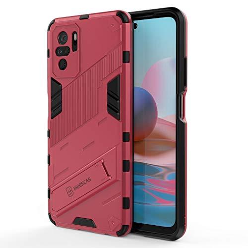 Liner Funda para Xiaomi Redmi Note 10 4G Estuche, Carcasa de Antigolpes [Rugged Armour] Soporte Plegable Oculto Silicona TPU Bumper Anti-Caída Case para Xiaomi Redmi Note 10 4G - Rosa