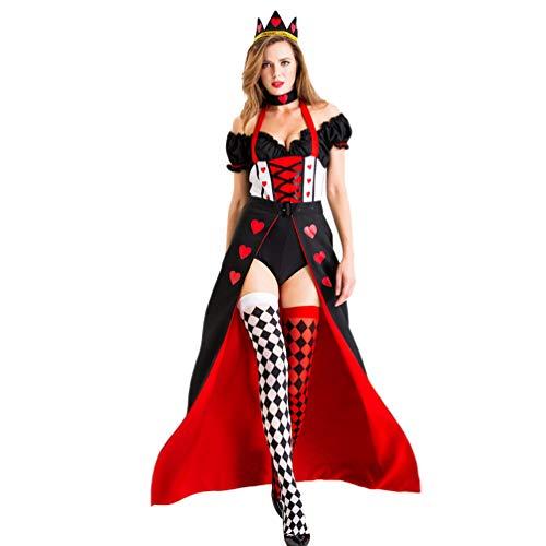 YOUJIAA Costume di Halloween Carnevale Natale Vestiti Masquerade Abito Cuore Rosso Poker Regina Travestimento - Nero Rosso, CN S
