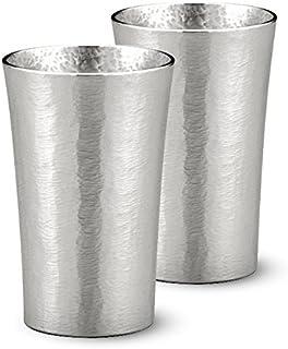 大阪錫器 おしゃれ 錫 ビアカップ タンブラー シルキー 約200㏄ φ6.5×H10cm 200cc シルキーシリーズ スタンダード ペア 16-1-2 2個入