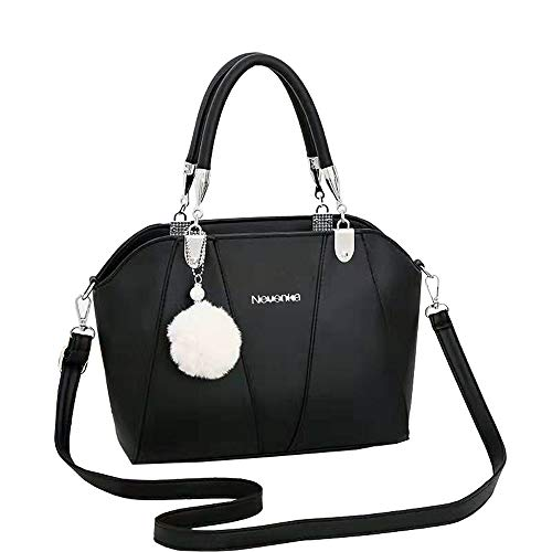 Nevenka PU Leather Women Cross Body Shoulder Bag Satchel Handbags Top-handle Bag Tote Bag (Black)