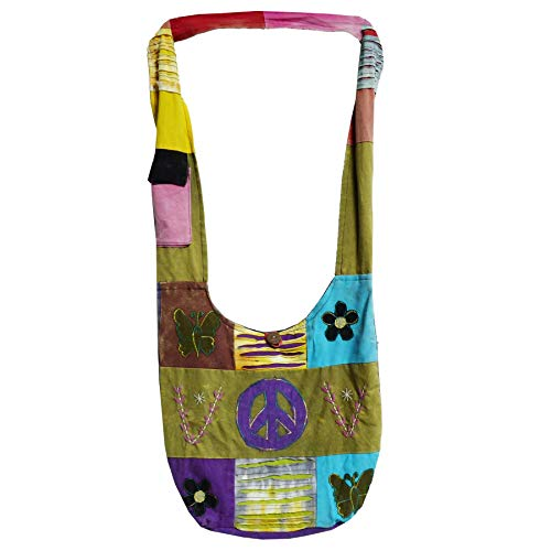 Patchwork Tasche Umhängetasche Handtasche Beuteltasche Tragetasche Schultertasche Shopper Bestickt Farbe Peace-Flower