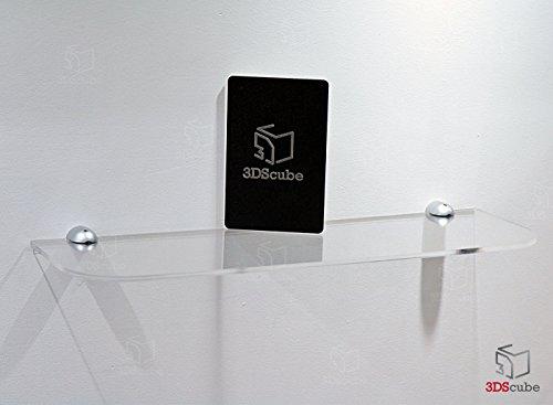 Mensola in plexiglass trasparente da parete, lunghezza 50 cm, profondità 15 cm, sp. 5 mm, completa di 2 supporti in alluminio per ancoraggio a muro