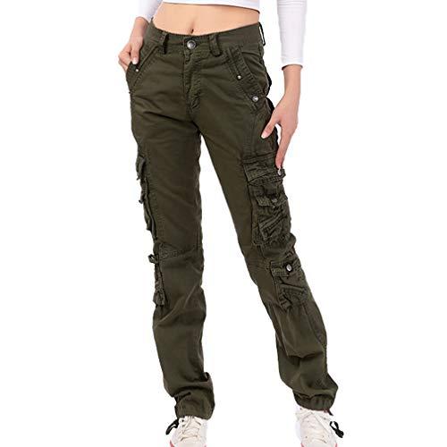 Damen Unifarben Arbeitshose Gerade Cargo Hosen Vintage Cargohose Mehrere Tasche Hosen angenehm & strapazierfähig Hosen