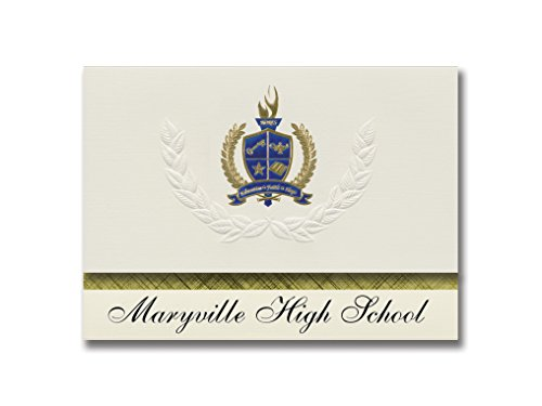 Signature Announcements Maryville High School (Maryville, MO) Graduation Announcements, Presidential style, Basic package of 25 with Gold & Blue Metallic Foil seal -  Signature Announcements, Inc, PAC_BASICPres_HS25_118189_206044