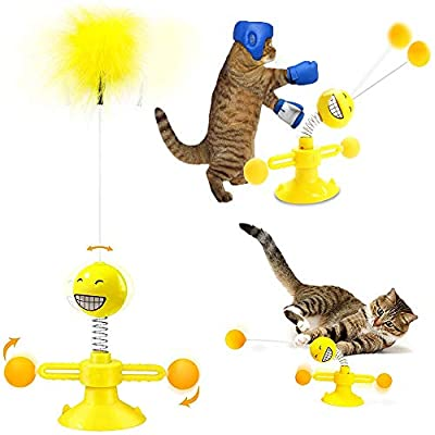 WeChip Windmill Interactive Cat Toy, Cat Toys for Indoor Cats with Turntable Teasing Feather Stick Suction Cup Base Funny Kitten Feather Ball Toys for Cats Cradle String Game (Yellow)