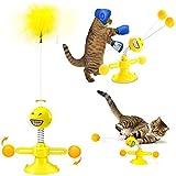 WeChip Juguetes para Mascotas,Juguete para Gato,Juguete Interactivo para Gato,Juguetes para Gatos Plumas ,Juguete Giratorio para Gatos Molino de Viento,de Interior Suministros para Gatos