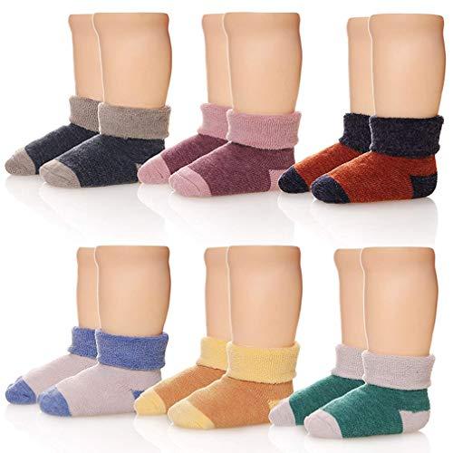 Z-Chen Calcetines Térmicos Invierno para Bebé Niños (Pack de 6 Pares), color mezclado, 3-5 Años