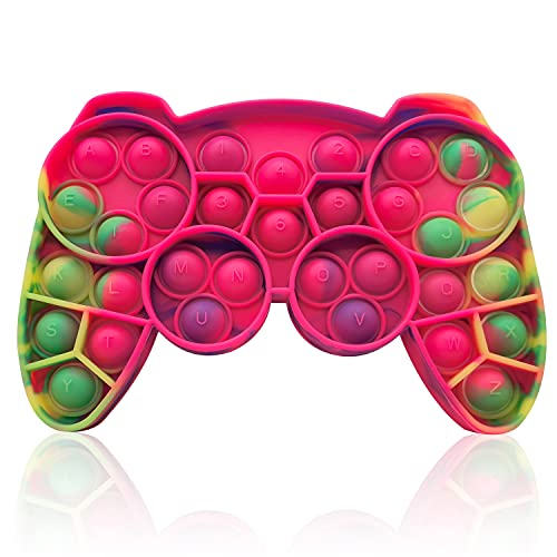 HooYiiok Gamepad Tie Dye Push Pop Pop Fidget Toy, Stress Relief Pop Game for Autism ADD and ADHD Special Needs Anxiety, Popper Fidgets Toys for Girls and Kids (Pink Green)