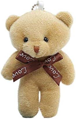 Schattige teddybeer knuffel pop sleutelhanger lint vlinderdas Siamese beer rugzak abrikoos