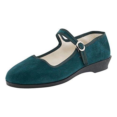 Japanwelt Original China-Samt-Ballerinas - Damen-Schuhe in vielen Farben Gr. 33-42 Trachtenschuhe in petrolgrün Größe 39