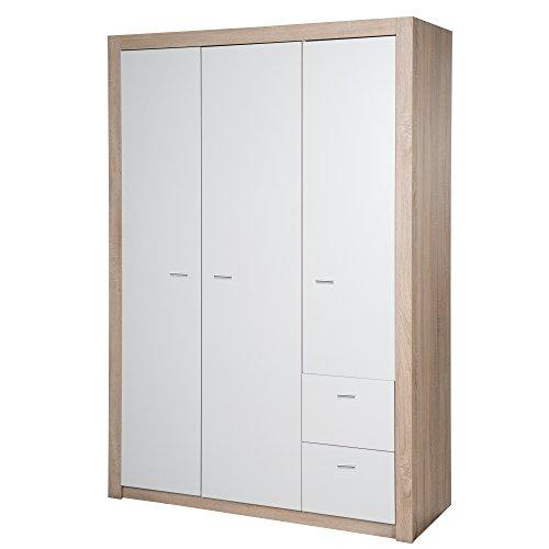 roba Kleiderschrank 'Leni 2', Schrank Babyzimmer, 3 Türen, 2 Schubladen, 2 Kleiderstangen, Kinderzimmer, Eiche sägerau/weiß