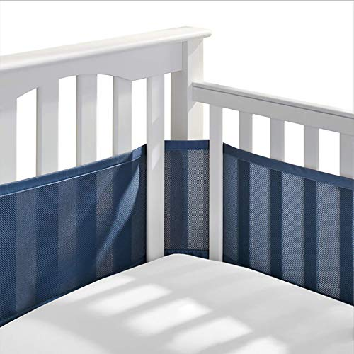 MaQyq 2Pcs Breathable Baby Crib, Breathable Crib Bumper, Washable 3D Breathable Cotton Mesh Bumper Pad Not Easily Deformed Easy Simple Handle, Suitable for Standard Cribs,Navy Blue