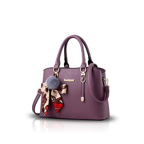 NICOLE&DORIS Neu Fashion Frauen Karriere Handtasche Tasche Umhängetasche Mode Strasse Damentaschen Weiche PU Purple