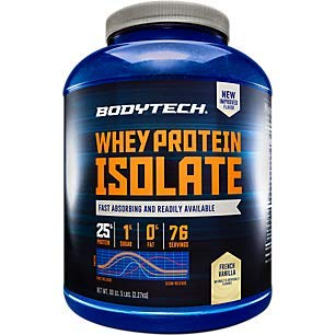 BodyTech Whey Protein Isolate Powder with 25 Grams of Protein per Serving BCAA's Ideal for PostWorkout Muscle Building Growth, Contains Milk Soy Vanilla (5 Pound)
