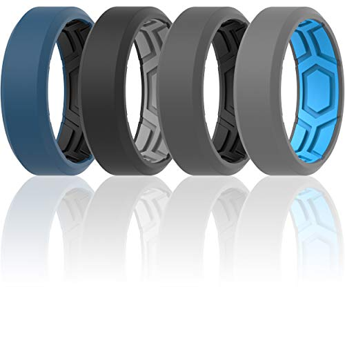 ThunderFit Men Breathable Air Grooves Silicone Wedding Ring Wedding Bands - 4 Rings (9.5-10 (19.8mm)