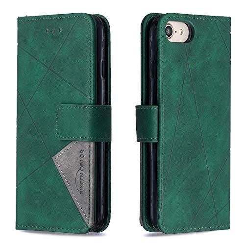 Lomogo iPhone 8/7/iPhone SE 2020 Hülle Leder, Schutzhülle Brieftasche mit Kartenfach Klappbar Magnetisch Stoßfest Handyhülle Case für Apple iPhone7/iPhone8 - LOBFE220021 Grün