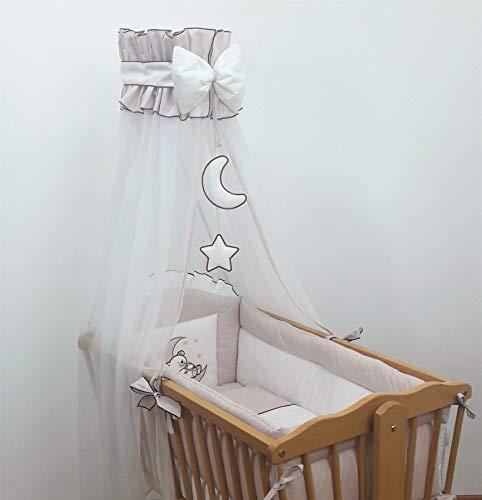 9 Piece Crib Baby Bedding Set 90x40cm Fits Swinging/Rocking Cradle (Bear Moon Rose Gold)