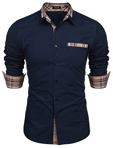 Hemden Langarm Herren Freizeit Regular fit einfarbig Basic Shirt
