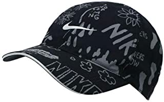 6010065421376 Nike Feather Light Adjustable Closure Graphic Baseball Grey/Black Golf Cap  (AV7772-010