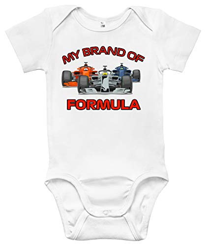 My Brand of Formula Baby Bodysuit Cute Formula 1 Baby Clothes for Infants (0-3 Months, White)