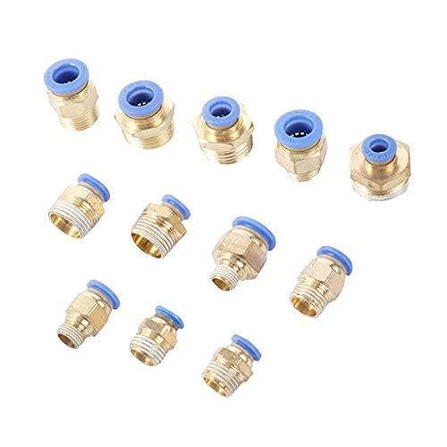 Adaptador de Conector de Manguera 4 Piezas de Juntas de tubería Recta de latón con Interfaz de 6/8/10 mm 1/8 y # 34;1/4 & # 34;3/8 & # 34;1/2 & # 34;Componentes neumáticos de la Junta de Agua de