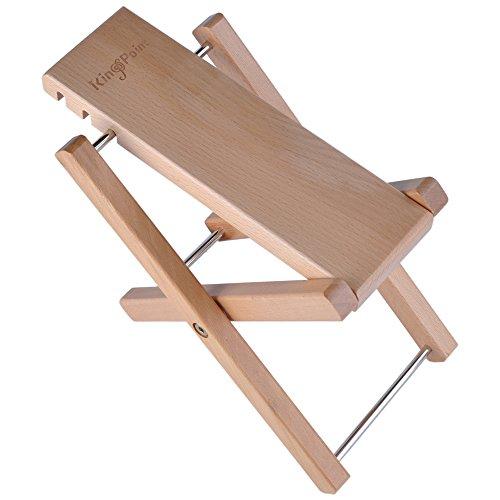 Reposapiés de madera dura para guitarra de KingPoint, con tres niveles de altura ajustables, madera natural