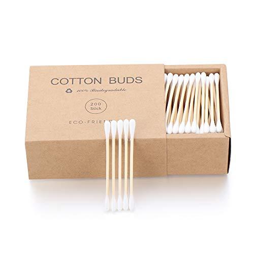 jumpeasy Beauty Make-up Buds Biologisch afbreekbaar Natuurlijke Houten Dubbele Hoofd Katoen Buds Neus Oren Schoonmaken Sticks Oor Swab Bamboe Katoen Swab (200stks/Lade doos)