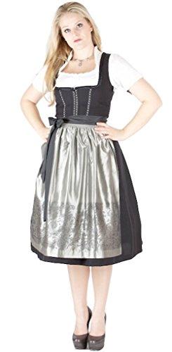 12277 Wenger Dirndl Hanna 70er schwarz Silbergrau Size 40