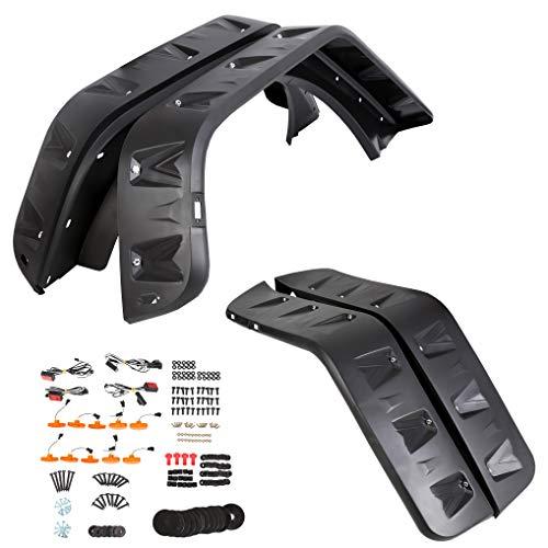7BLACKSMITHS 4pcs Front Rear Fender Flares with 10x LED Amber Side Marker Pocket Rivet Style for 07-18 Jeep JK Wrangler