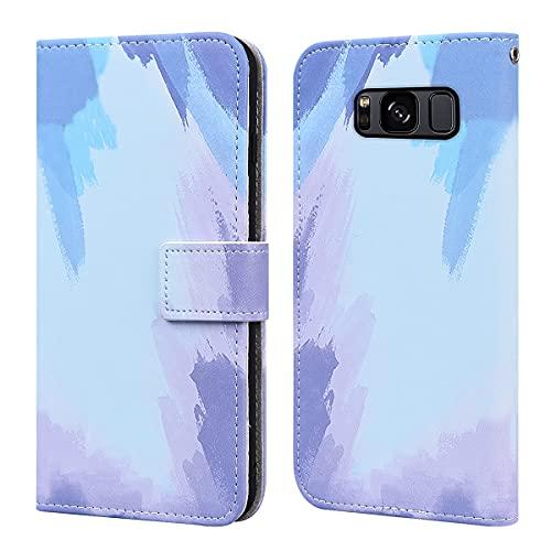 """KELISI Cover Samsung Galaxy S8,Custodia Galaxy S8 Acquerello in Pelle,Flip Wallet Case,Supporto Stand,con Magnetica a Scatto,per Galaxy S8(5.8""""),Blu"""