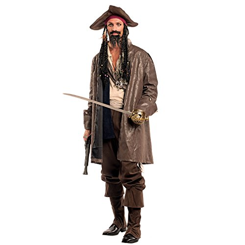 Disfraz de hombre Pirata Capitán Jack con pañuelo y rasta Cabello pirata Carnaval pirata Caribbean Buccaneer (S)