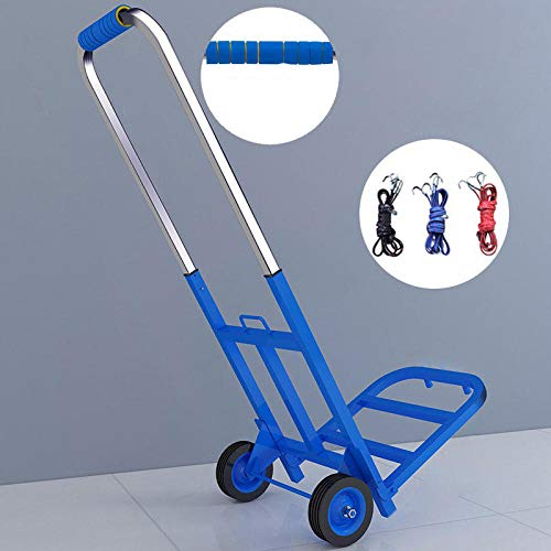 Stainless Steel Foldable Trolly Bags for Shopping With Anti Puncture Rubber Wheels and 60 kg Capacity,Blue Shopping Trolley Wheels for Rough Terrain - Garden Sack Barrow - Sack Trolley With Large Toe