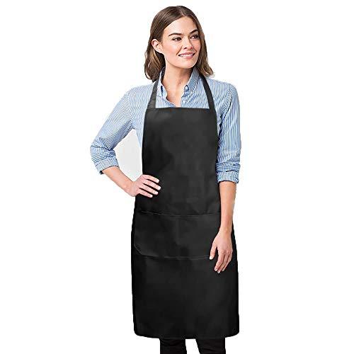3 STKS Women&Men Schort Bib, Waterdichte Aprons Bib Jurk met Dubbele Zakken voor Koken Keuken Restaurant Blauw, Zwart, Rood Zwart