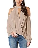 YOINS Women Blouse Crossed Front Design Cold Shoulder V-Neck Lantern Sleeves Top Khaki S