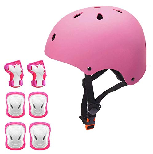 KORIMEFA Kinder Fahrradhelm Set Protektoren Set Schutzausrüstung Schonerset Protektoren Kinder für Kinderroller Skateboard Radfahren Skateboard 3-8 Alt Junge Mädchen (Pink, M)