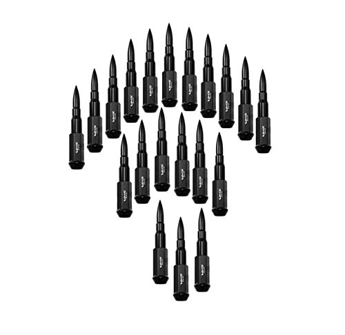 TRUE SPIKE 14x1.5 20PC 124mm Cold Forged Steel Lug Nuts with Black Extended Bullet Tips in CNC Aluminum Compatible with Toyota Tundra 07-20 2007-2020 with 5 Lug Wheel Pattern