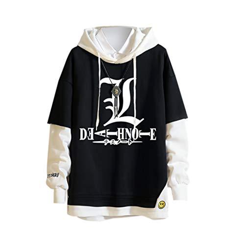 Anime Death Note Sudadera con Capucha Denim Sudadera con Capucha Sudaderas con Capucha Botn Jeans Abrigo Chaqueta Cosplay Disfraz Suter Falso Dos Prendas de Manga Larga para Hombres y Mujeres