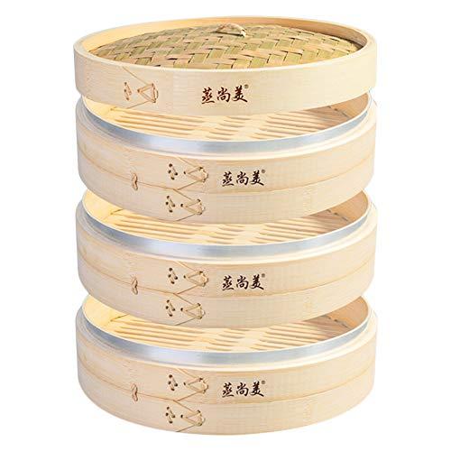Hcooker 3-Tier Küche Bambus Dampfer mit Edelstahl-Banderolieren für Asiatische Kochbrötchen Mehlklöße Gemüse Fischreis