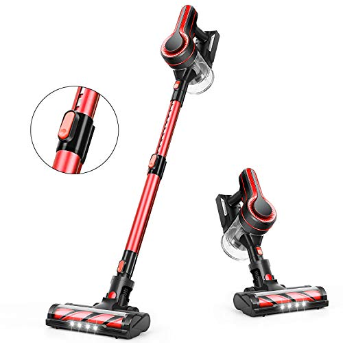 APOSEN Cordless Vacuum Cleaner 18000Pa Strong Suction Detachable Battery 250W Powerful Brushless Motor 12L SuperCapacity 4 in 1 Stick Handheld Vacuum Cleaner for Deep Cleaning H250 (Red)