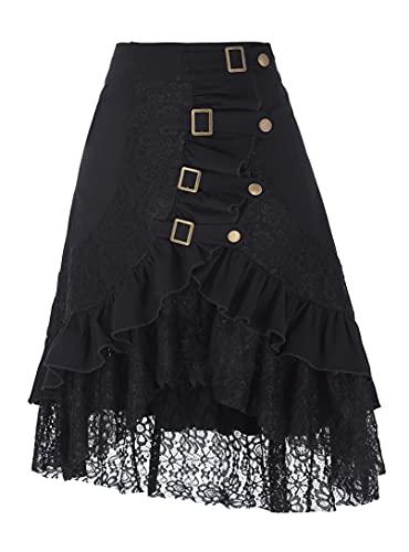 Belle Poque Women's Gypsy Hippie Skirts Floral Lace Splice Irregular Hem Club Skirt Black XL