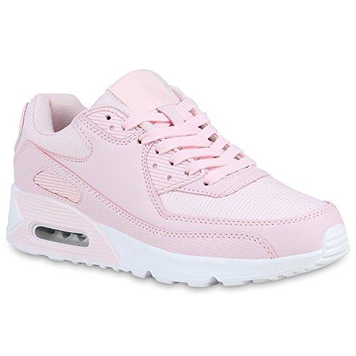 stiefelparadies Damen Schuhe Laufschuhe Glitzer Sportschuhe Profilsohle Sneaker 158514 Rosa Glitzer 36 Flandell