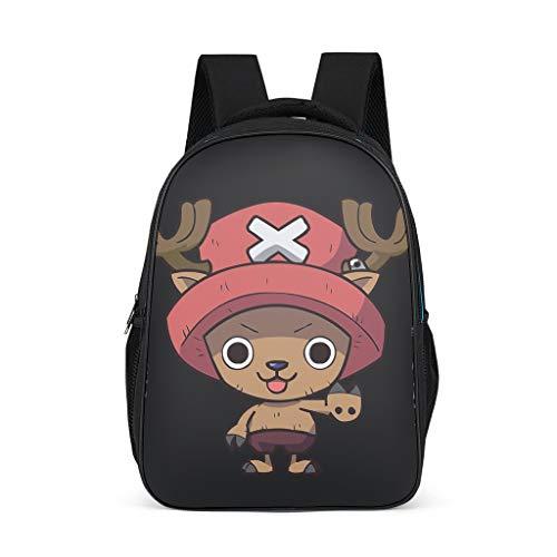Mochila escolar One Piece Chopper, mochila escolar japonesa Anime mochila escolar Daypack mochila mochila para niños mochila de ocio para niños y niñas Negro Negro 32x18x42 cm