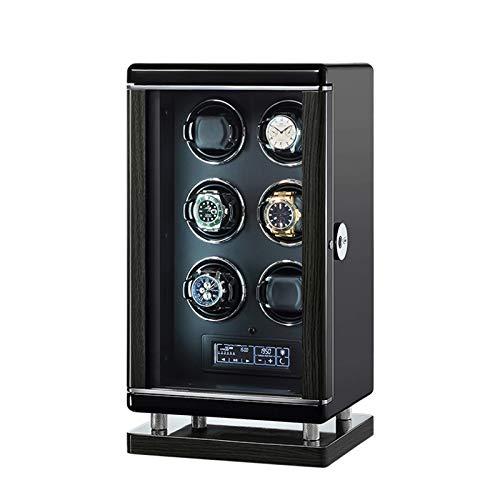 ZCXBHD Enrollador de reloj para 6 relojes automáticos con control remoto Smart Fingerprint LCD con panel táctil LED integrado iluminado 6 ajustes diferentes con motor súper silencioso