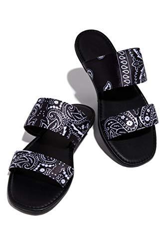 KHJH MujerVeranoZapatillasSandalias,Zapatillas Planas con Estampado Negro Baño Transpirable Zapatos De Punta Abierta Bohemia Beach Zapatos Antideslizantes para Dama Niña Al Aire Libre Antidesliza