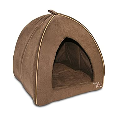 Best Pet Supplies Modern Triangular Suede Tent Bed - Dark Brown - X-Large